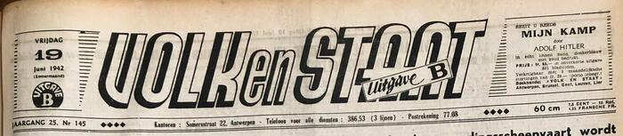 VNV newspaper Volk en Staat, 19 June 1942