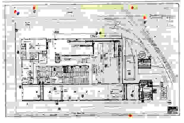 A map of the Ford factory indicating where the bombs fell